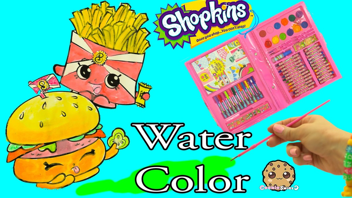 Shopkins Art Set Marker & Water Color Fast Food Picture Painting – Video Cookie Swirl C