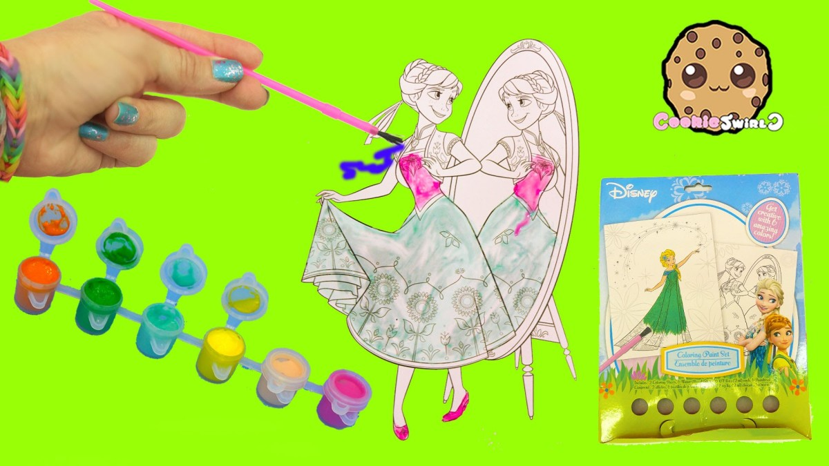 Disney Frozen Fever Coloring Paint Set – Painting Princess Anna Craft Fun Video Cookieswirlc