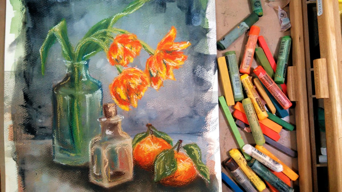 LIVE:  Tulips & Oranges in Pastel Painting Class
