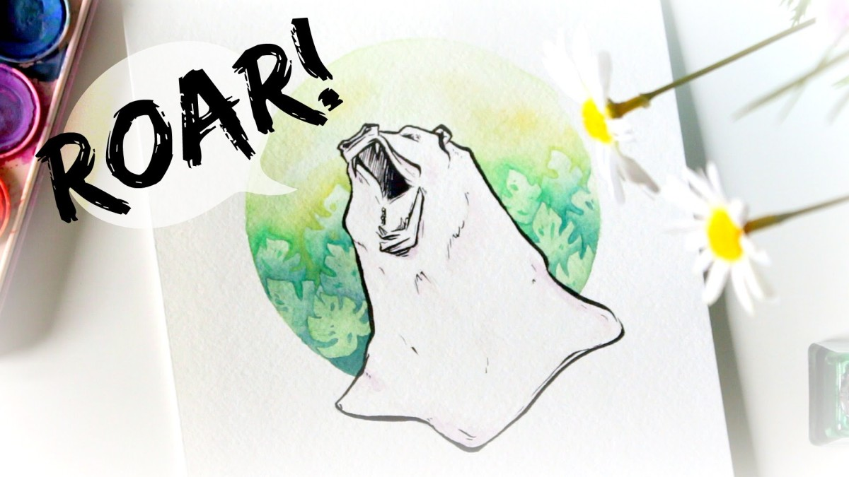 'Roar!' · Watercolour Speed-Painting with Brush Pen Detailing