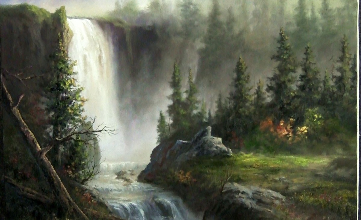 Landscape oil painting | Cascading Waterfall | Paint with Kevin Hill