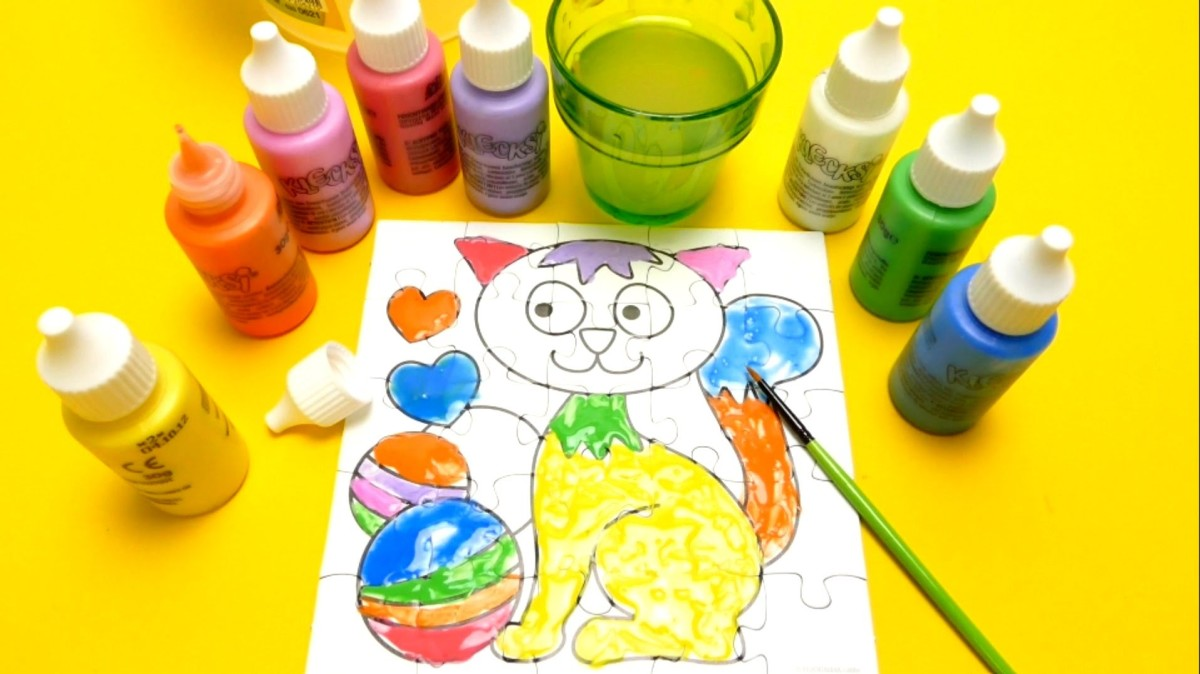 Finger Painting Game – Cat Puzzle Coloring Playset