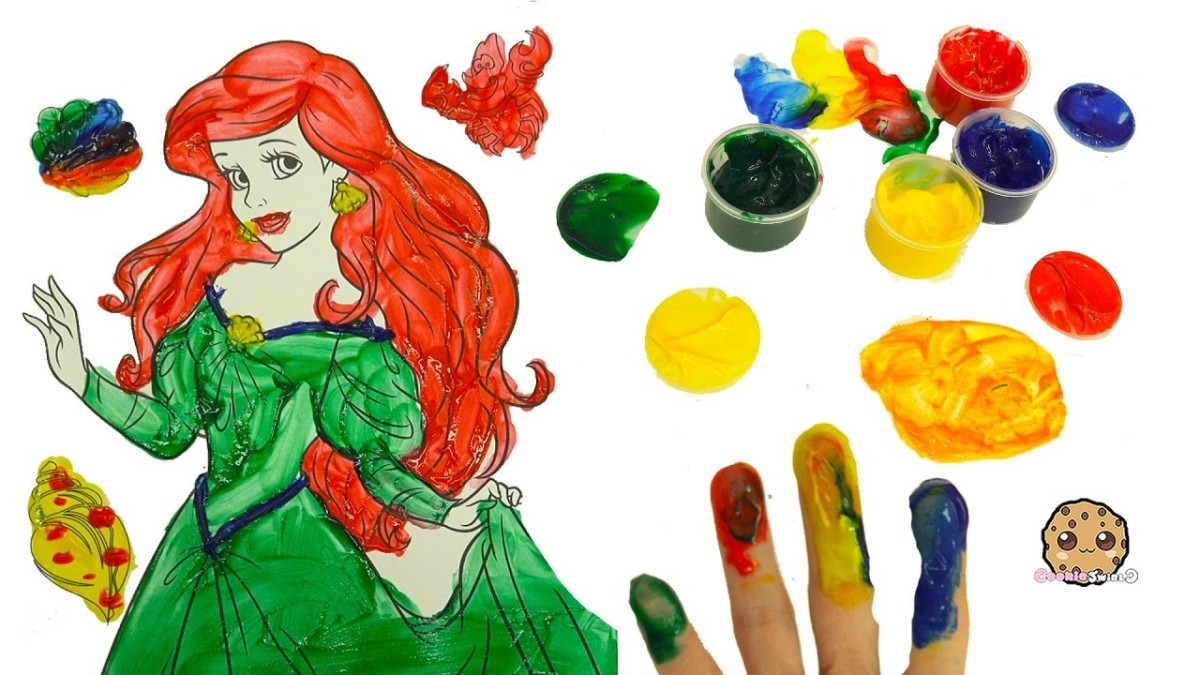 Finger Painting The Little Mermaid Disney Princess with Paint Pots – Dollar Tree Art Video