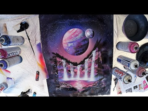Pink waterfalls – SPRAY PAINT ART by Skech