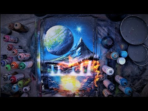 Valley under the Moon – SPRAY PAINT ART by Skech