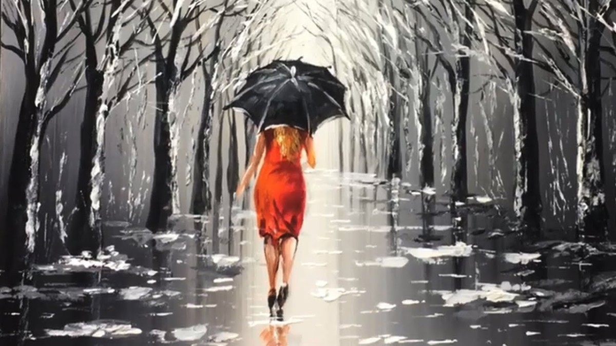Lady With Black Umbrella Acrylic Painting Painting
