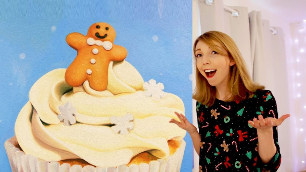 GIANT Christmas Cupcake PAINTING