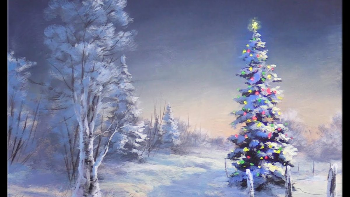 Simple Acrylic Christmas Tree Painting