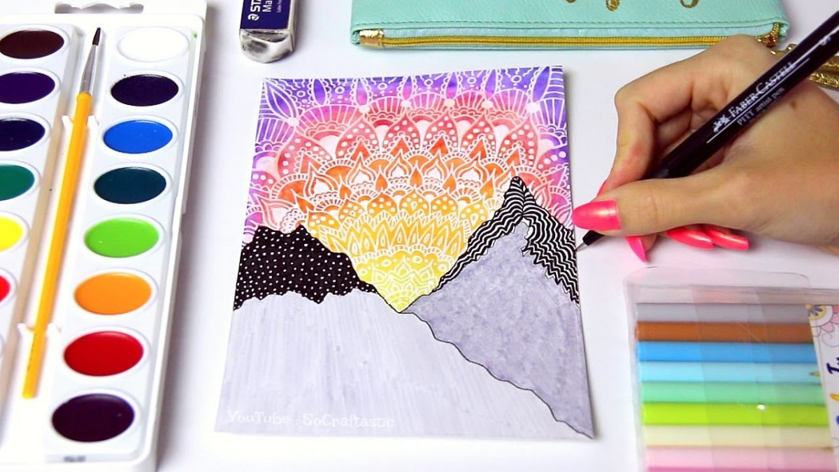 WATERCOLOR SUNSET PAINTING with Mandala Doodles & Mountains + Chat // SoCraftastic