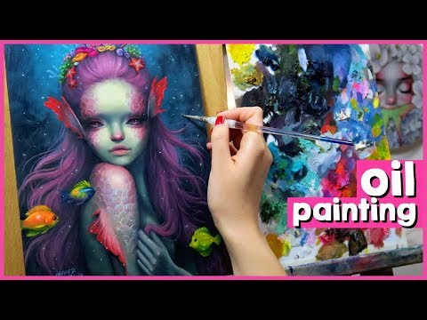MERMAID OIL PAINTING TIMELAPSE (+ taking time to do personal projects!) 🎨 Studio Sessions Ep. 35